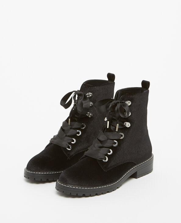 Boots rangers in velluto nero