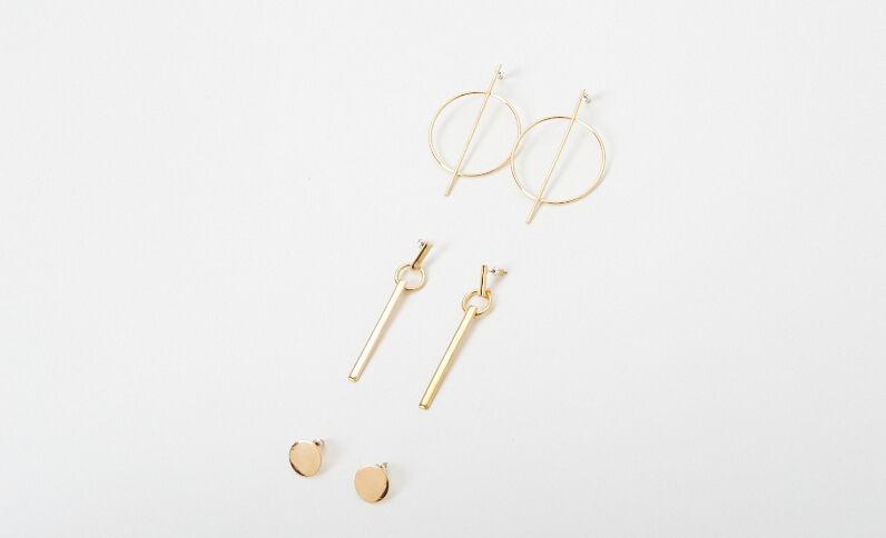 Lotto di 3 orecchini dorati dorato
