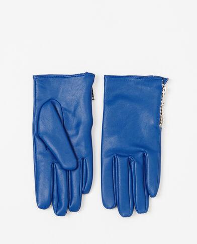 Guanti similpelle neri blu