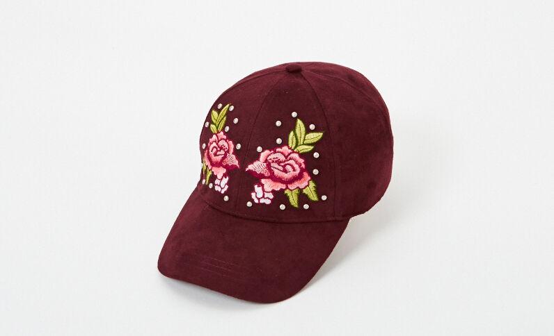 Cappellino ricamato granata