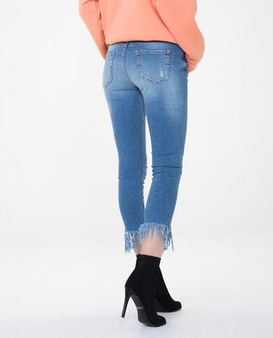 Jeans slim con frange blu