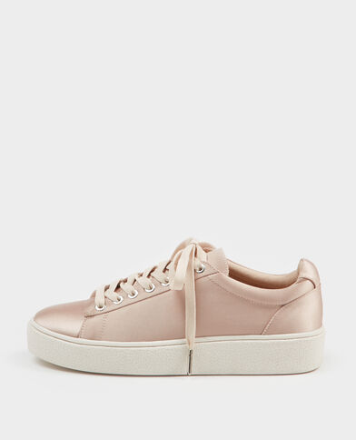 Scarpe da basket satinate rosa cipria