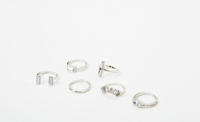 Lotto da 6 anelli fantasia grigio
