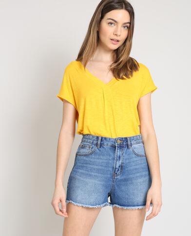 T-shirt collo a V giallo