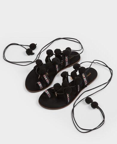Sandali etnici con pompon nero