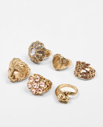 Lotto da 6 anelli dorato