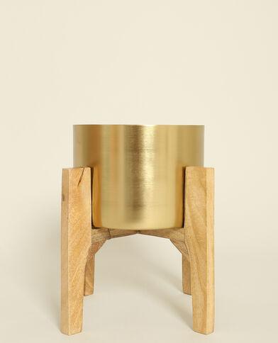 Grande vaso con gambe in legno dorato