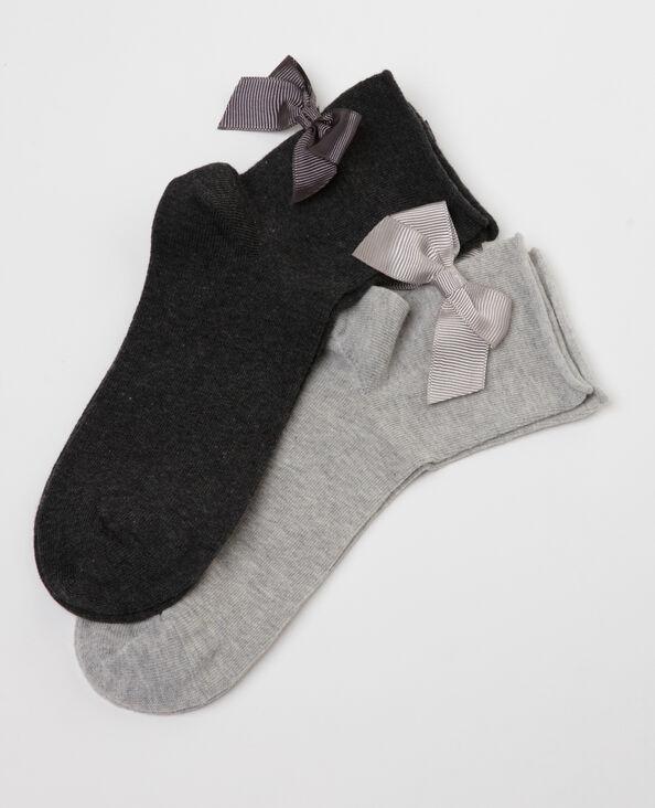 Lotto da 2 paia di calze con fiocco grigio topo