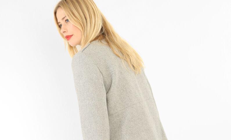 Cappotto media lunghezza con zip grigio chiné