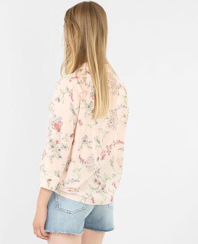 Camicia a fiori in stile pigiama rosa cipria