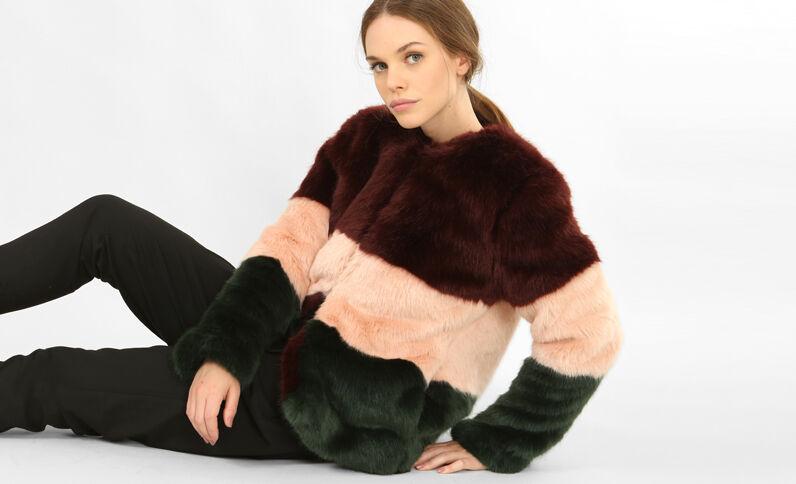 Cappotto in pelliccia ecologica bordeaux
