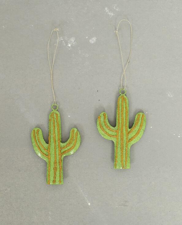 Lotto da 2 decorazioni cactus verde