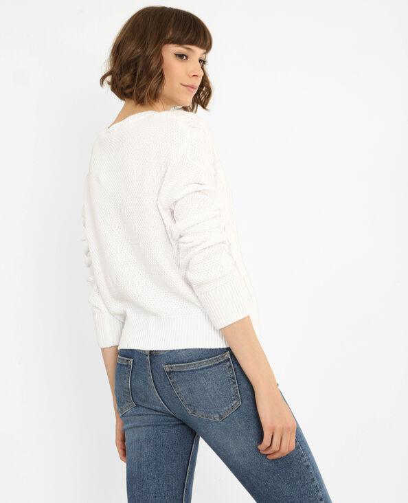 Pull corto ritorto bianco sporco