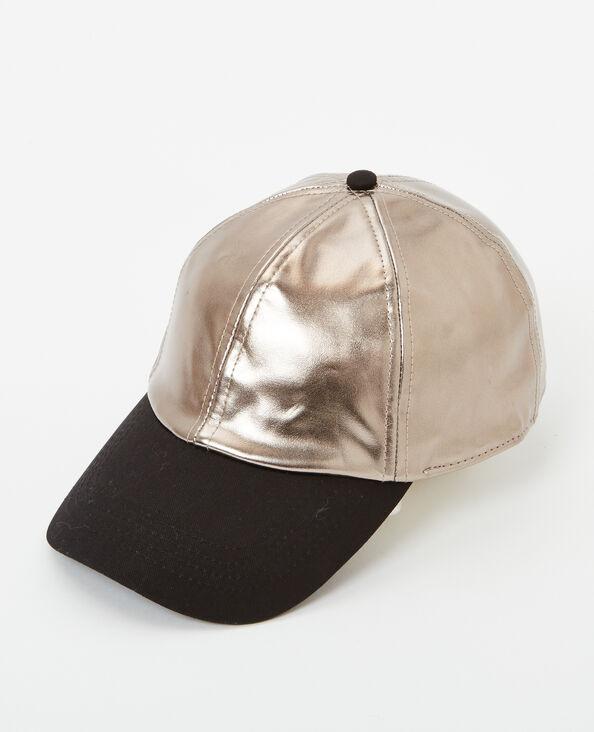 Cappellino bimateriale grigio paillettato