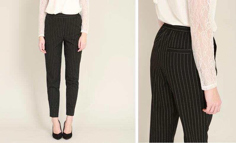 Pantalone morbido a righe nero