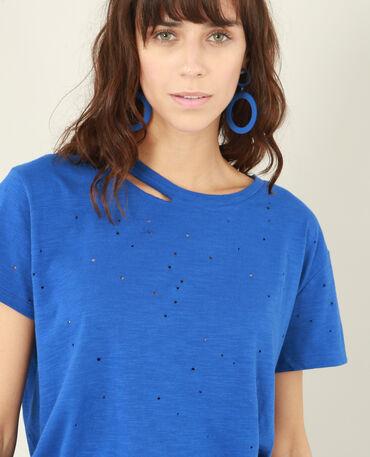 T-shirt destroy blu elettrico