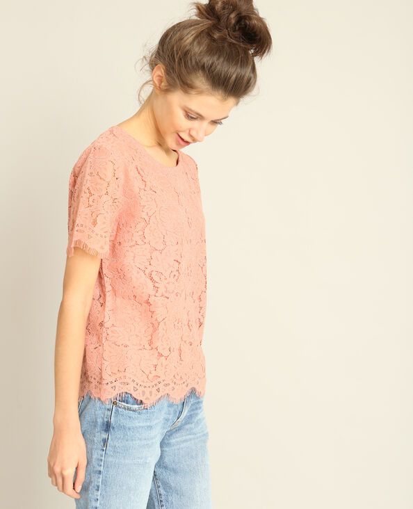 T-shirt in pizzo rosa cipria