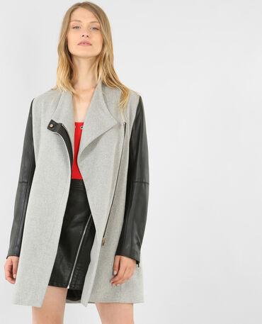 Cappotto bimateriale grigio chiné