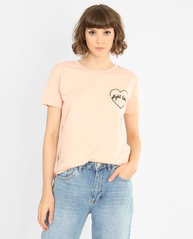 T-shirt ricamata rosa