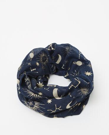 Foulard collo stampato blu marino