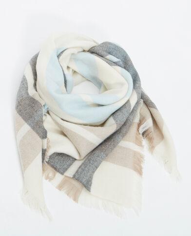 Grande sciarpa a quadri beige
