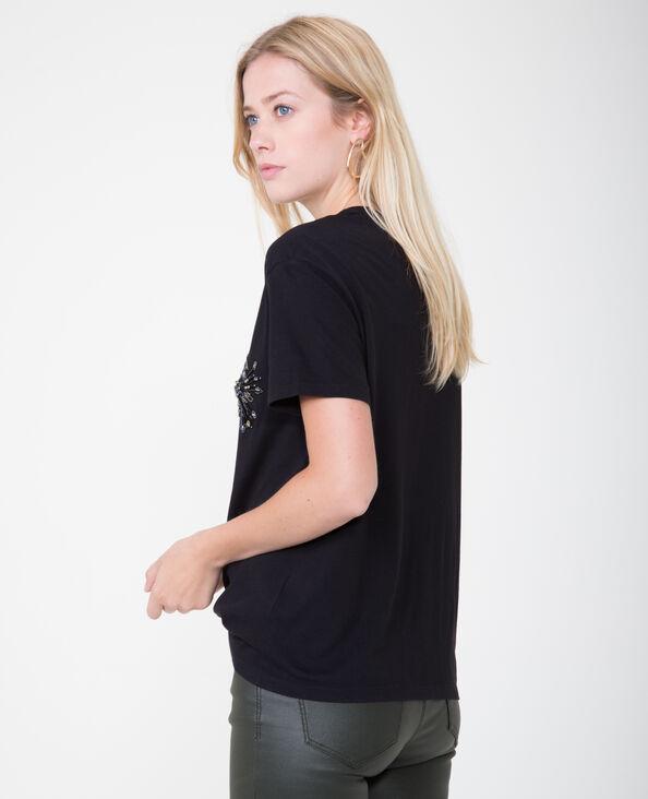 T-shirt collo perle nero
