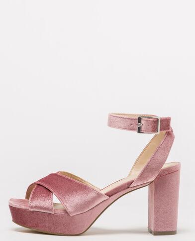 Sandali con plateau velluto rosa cipria
