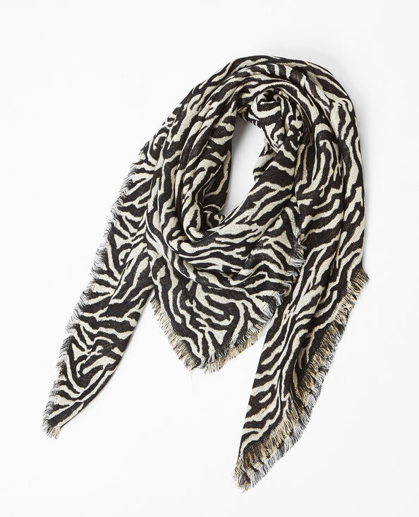 Foulard zebrato lurex white gold