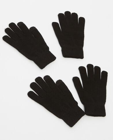 Lotto da 2 paia di guanti nero