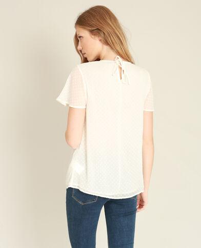 Blusa plumetis bianco sporco