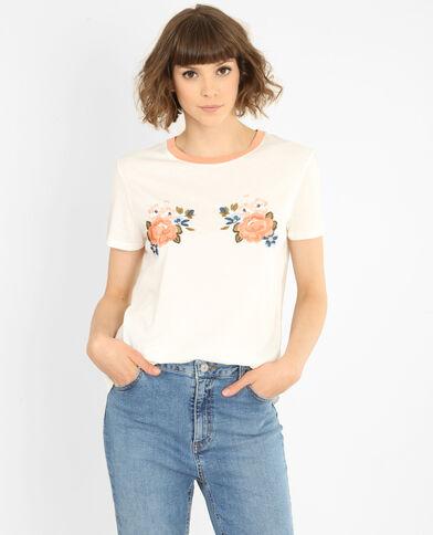 T-shirt con messaggio bianco sporco