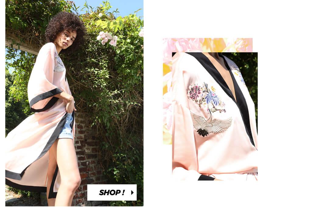 PIMKIE Kimono lungo satinato Short in jeans délavé