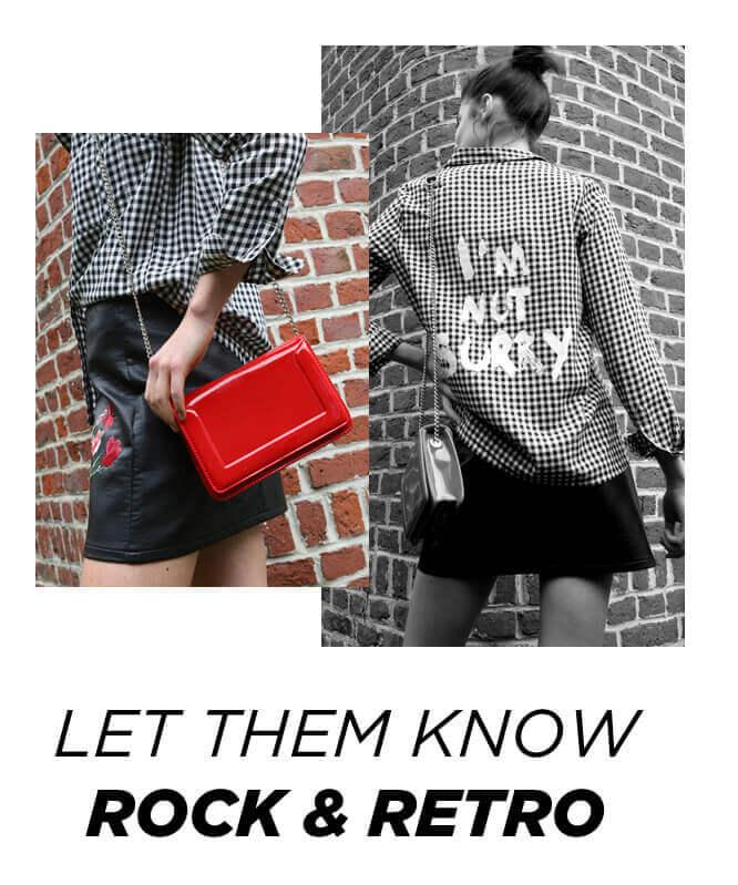PIMKIE Camicia con messaggio, Minigonna con ricami, Piccola borsa in vinile