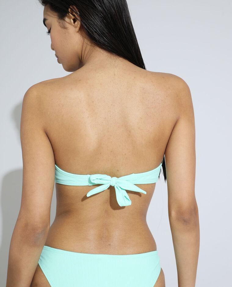 Pezzo sopra di costume da bagno a fascia a coste verde pistacchio - Pimkie