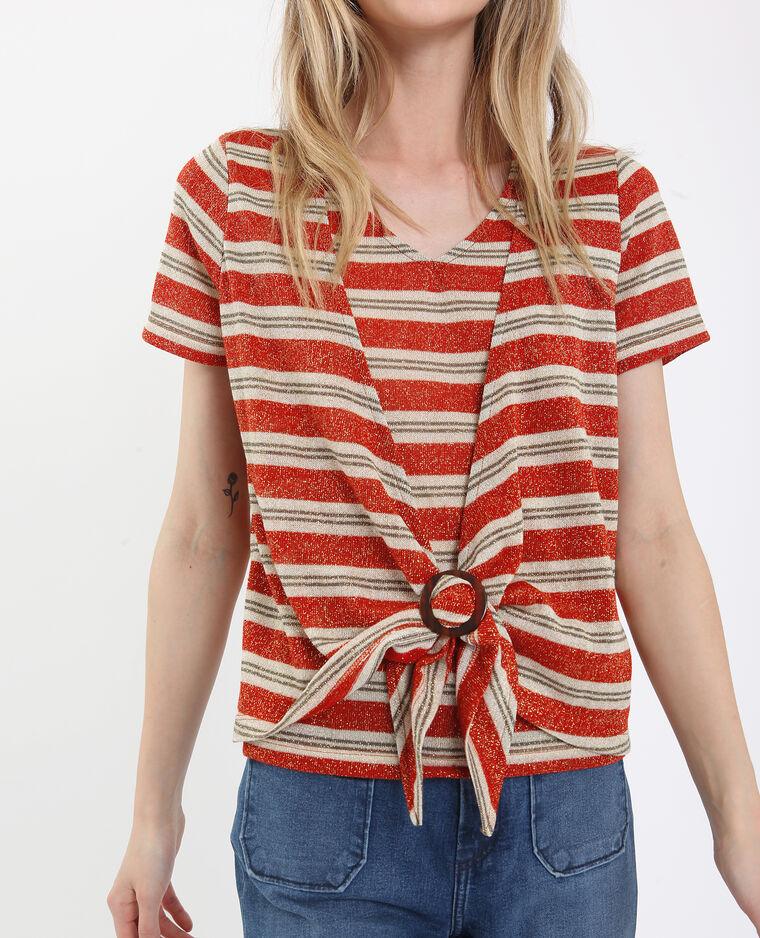 T-shirt annodata bianco e rosso