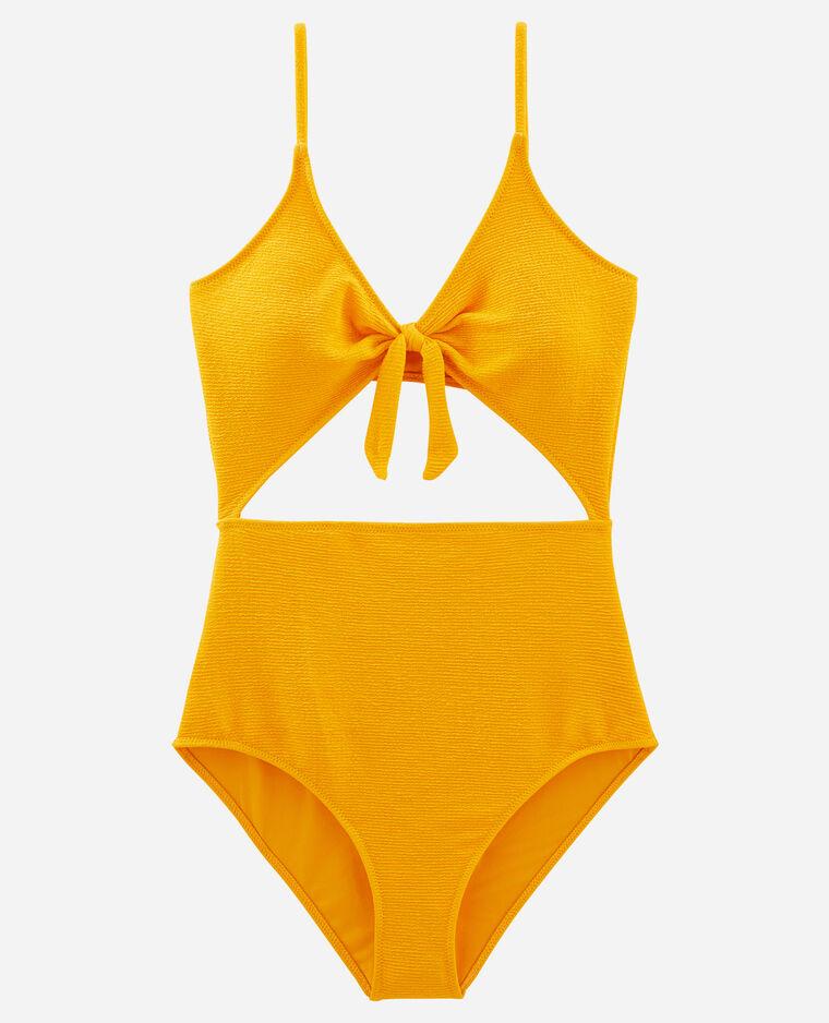 Costume da bagno intero con tagli giallo