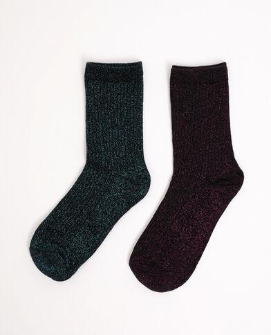 Lotto di 2 paia di calzini con paillettes rosa