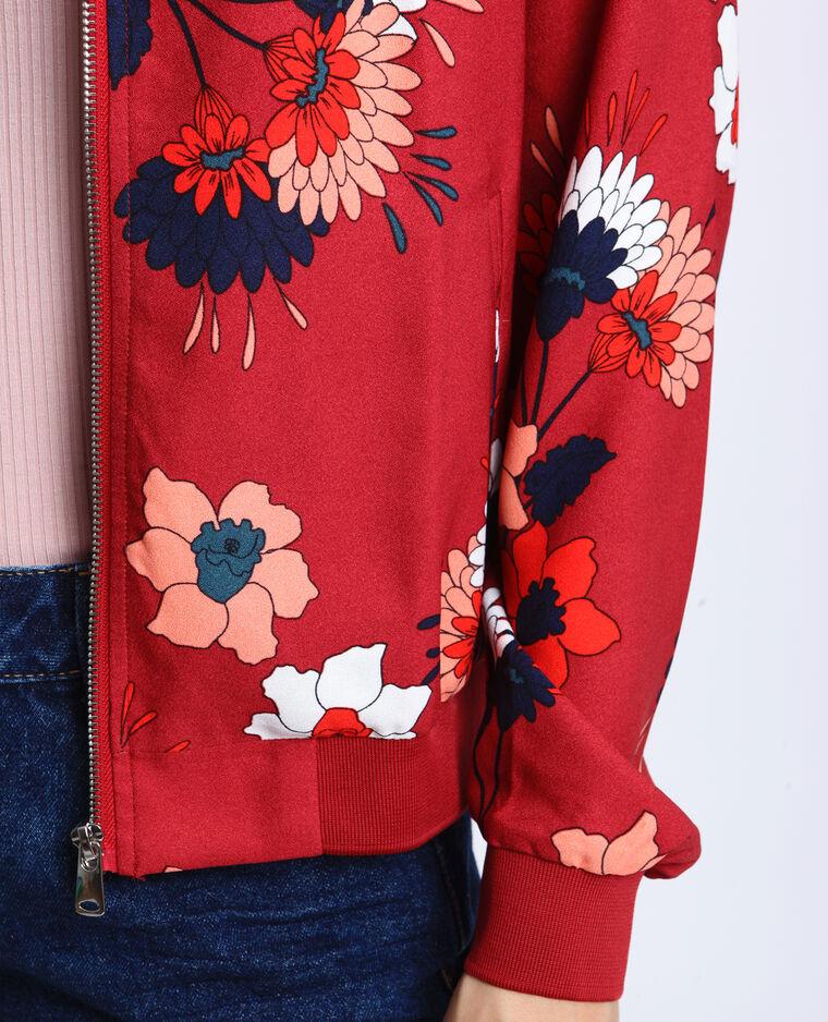 Bomber morbido a fiori rosso