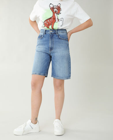 Bermuda di jeans high waist blu denim