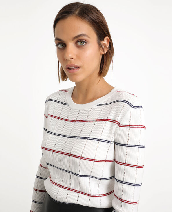 Pull a righe bianco sporco