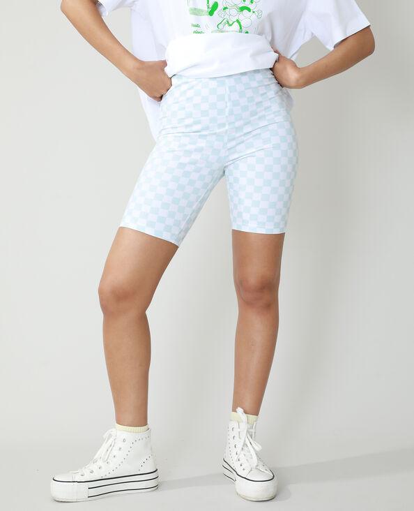 Pantaloncini corti in stile ciclista a scacchi blu chiaro - Pimkie