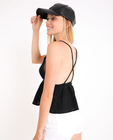 Cappellino in similpelle nero