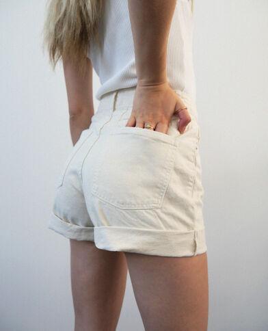 Short di jeans destroy écru