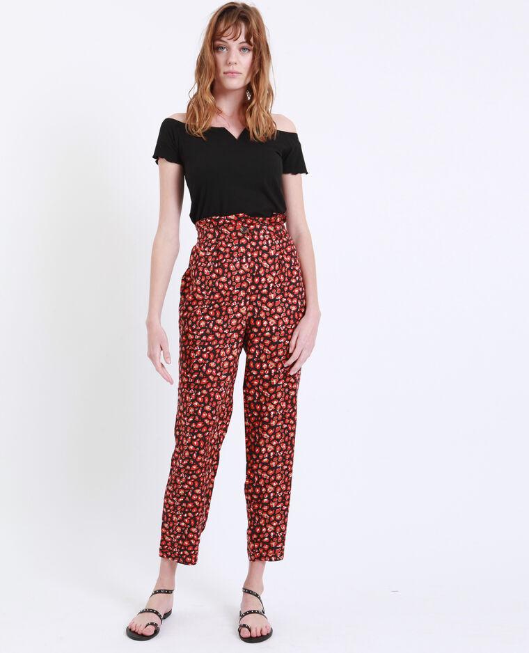 Pantalone stampato nero + rojo