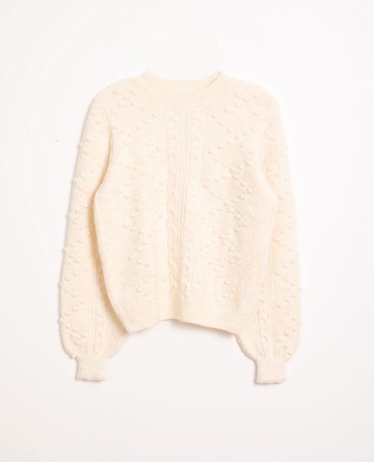 Pull in maglia fantasia bianco sporco