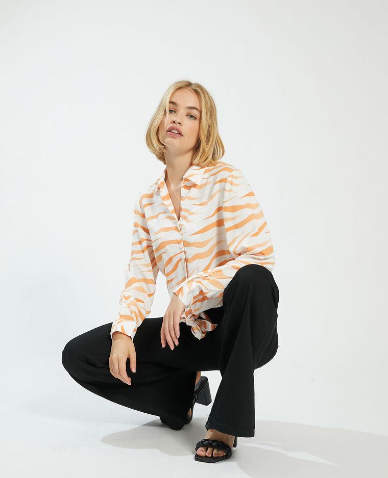 Camicia tigrata da annodare bianco sporco - Pimkie