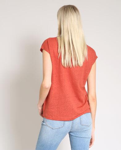 T-shirt in lino mattone