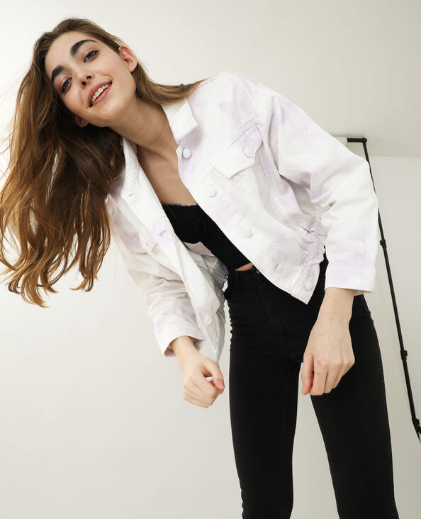 Giacca di jeans tie and dye bianco