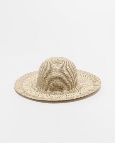 Cappello a tesa larga lurex beige corda