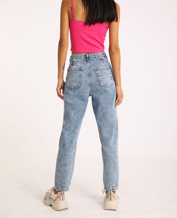 Jeans mom con pieghe blu denim